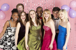 Group Of Teenage Friends Dressed For Prom